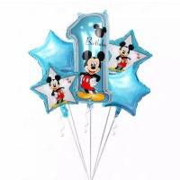 5pcs balloon mickey minnie birthday decoration number 1 Helium Foil
