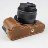 Kulit PU Casing Flip Case untuk Canon EOS M50 - Warna Coklat Bahan