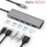 WIWU ALPHA A531H - 5-in-1 USB-C Hub - HDMI - USB3.0 - PD Charging Port