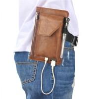 Waist Phone Bag PU Leather Vintage Model for Men - 6.3 inch Max
