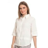 Basix - Janette White Shirt - Kemeja Wanita Bahan Katun Putih
