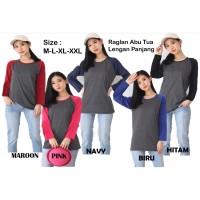 Atasan wanita | Kaos Raglan | Kaos lengan panjang Raglan polos MLXLXX