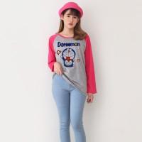 Atasan wanita | Kaos Raglan Doraemon| Kaos lengan panjang |Ukuran M XL