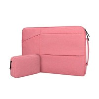 Tas Laptop Jinjing set Macbook Sleeve Waterproof Nylon 14 15inch pink