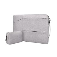 Tas Laptop Macbook Softcase Jinjing Set Pocket Nylon 13 inch abu