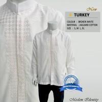 Baju Koko Lengan Panjang, Baju Koko Gaul, Baju Koko Putih - Turkey