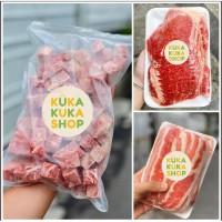 BUNDLING PROMO BEEF SLICE LOW MEAT, US SHORTPLATE , WAGYU SAIKORO CUBE