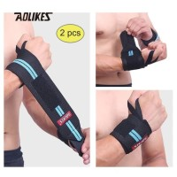 Aolikes 1538 Wrist Support Band Weightlifting - Strap Gym BLUE