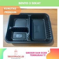 Mika Bento 3 Sekat/Tray Bento Sekat Hitam /Kotak Bento/Lunch Box