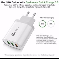 USB Wall Charger 3Port Support Fast Charging