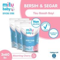 Mitu Baby Wipes Fresh N Clean Pink Refill 60'S - 3pcs