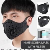 Masker kain Kn95 Dual Filter bahan scuba sepeda anti virus FDA