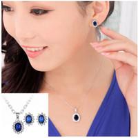 Set Perhiasan 3in1 PERMATA C29 Kalung Liontin Anting Korea Fashion Aks