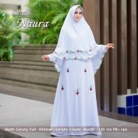 baju gamis wanita muslim syari naura white gamis syari bordir busui