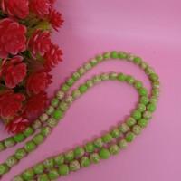 Batu simple motif 8mm hijau / beads bahan kalung dan gelang