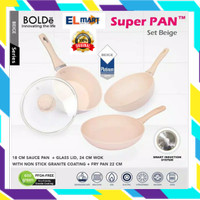 BOLDe Super pan set 3+1 beige - panci granite ceramic cookware induksi