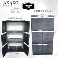 Akako - Lemari Plastik 3 susun Motif Rotan - Awet