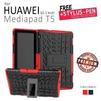 Huawei Mediapad T5 10.1 Inch - 2in1 Hybrid Armor Hard Soft Case - Black