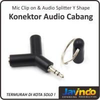 Mic Clip on & Audio Splitter Y Shape / Konektor Cabang Mic & Speaker