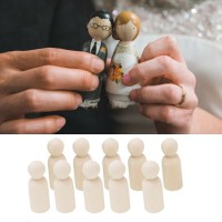 20Pcs Natural Unfinished Wooden Peg Doll Bodies People Shapes Art