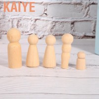 Kaiye 50 Pcs Decorative Wooden Peg Doll People Natural Unfinished
