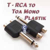 T RCA To Toa Akai MONO Plastik Cabang Konektor Jack