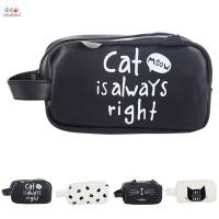 Kotak Pensil Bahan Kulit PU Motif Kartun Kucing Lucu dengan
