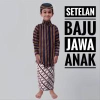 Baju Anak Adat Jawa Tradisional Setelan Surjan Lurik Jarik Blangkon