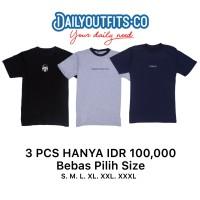 Dailyoutfits (Bundling 3Pcs) Kaos Katun 30S Custom Polyflex UKURAN S/M