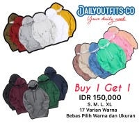 Dailyoutfit Bundling 2Pcs Jaket Sweater Polos Hoodie Jumper Unisex