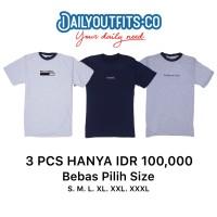 Dailyoutfits (Bundling 3Pcs) Kaos Katun 30S Custom Polyflex SIZE L/XL