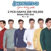 Daily Outfits Bundling 2Pcs Kemeja Polos Katun Lengan Panjang