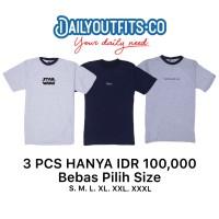 Dailyoutfits (Bundling 3Pcs) Kaos Katun 30S Custom Polyflex SIZE XXL