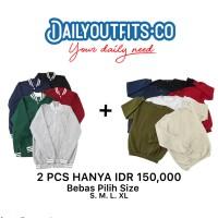 Dailyoutfit Bundling 2Pcs Jaket Baseball Bomber Sweater Fleece Unisex
