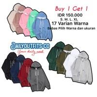 Dailyoutfit Bundling 2Pcs Jaket Sweater Polos Hoodie Zipper Unisex