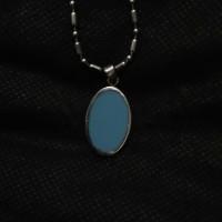 Kalung Liontin Perak Batu Pirus Biru Polos