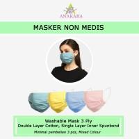 Anakara Masker Kain Non Medis Armadillo - Isi 3 Mixed Colour - All Size