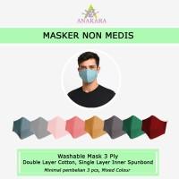 Masker Kain Non Medis Anakara - Isi 3 Mixed Colour - All Size