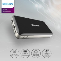 PHILIPS PowerBank DLP 6080 Fast Charging 2.4A 8.000 mAh - Hitam