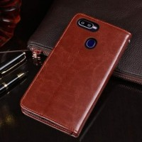flip cover wallet oppo a7 leather case kulit dompet coklat oppo a7