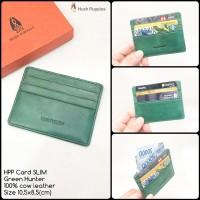 dompet pria hushpuppies card slim green hunter premium kulit sapi