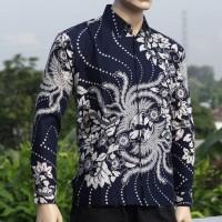 Kemeja/Hem Pendek Batik Lengan Panjang Furing Motif Burung Warna Biru