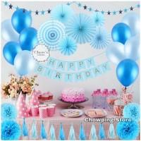 Paket Dekorasi Hiasan Balon Ulang Tahun / Happy Birthday Biru 01