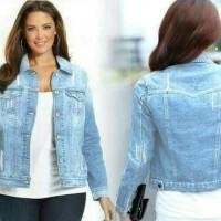Super Murah - jaket wanita jeans jumbo vita big size - Biru Oversize
