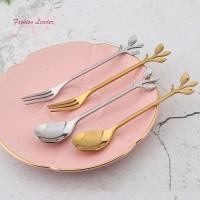1 Pcs Stainless Steel Leaves Spoon Fork Coffee Tea Spoons Ice Cream