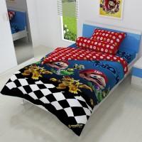 Bed Cover Single 120 Mario Kids Edition Biru