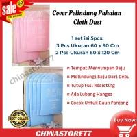 Cover Pelindung Pakaian Cloth Dust Cover Isi 5 Pack Bahan Kanvas