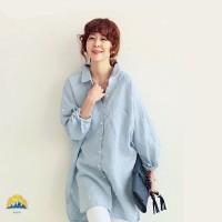Women Cotton Linen Long Sleeve Solid Color Loose Tunic Shirt Blouse