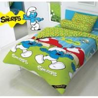 Bed Cover Single 120 Smurfs Kids Edition Biru