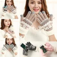 Sarung Tangan Touch Screen Bahan Fleece Tebal Hangat untuk Wanita /